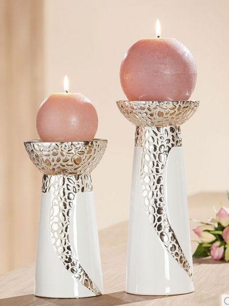 """Kerzenleuchter """"Cerosa"""" Keramik weiß, mit champagner Struktur"""