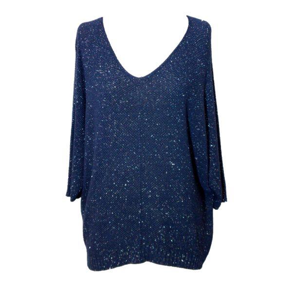 le Kiwi Pullover blau-silber One-Size