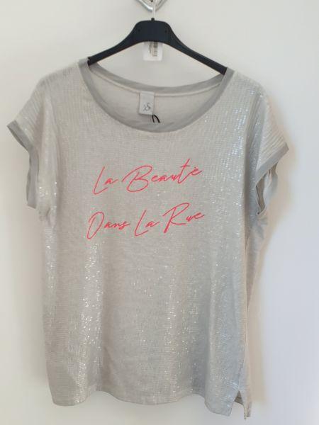 T-Shirt mit pailetten Sand-Grau Baumwolle Einheitsgröße bis - 42-44