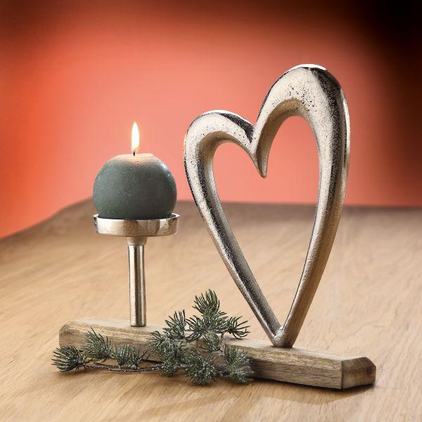 """Kerzenleuchter """"Herz"""" auf Holzbase"""