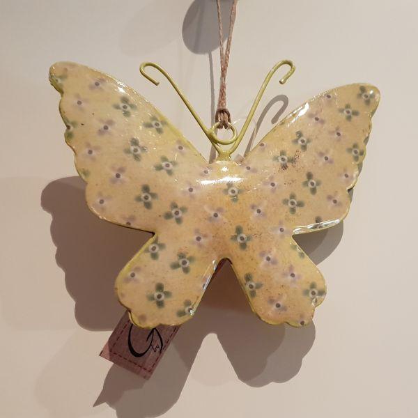 """Metallhänger """"Schmetterling"""" gelb, 12 x 14 cm"""