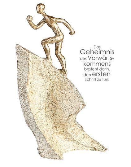 """Casablanca Skulptur """"Aufsteiger"""" Poly goldfarben antikfinish auf Basis in Steinoptik"""
