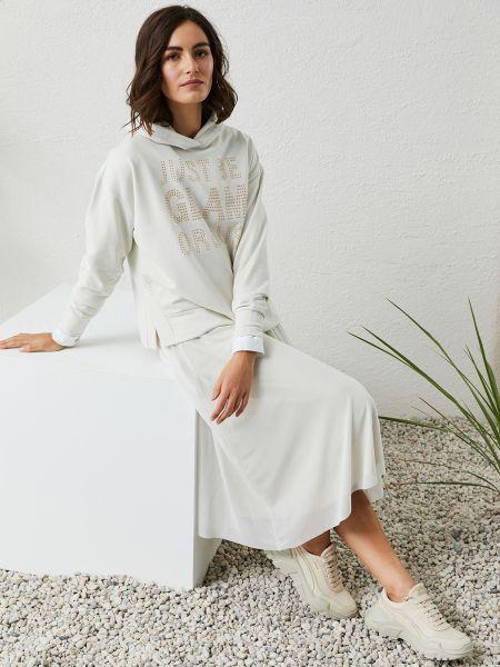 MILANO ITALY Damen Kapuzen-Sweatshirt Creme & Strass-Print
