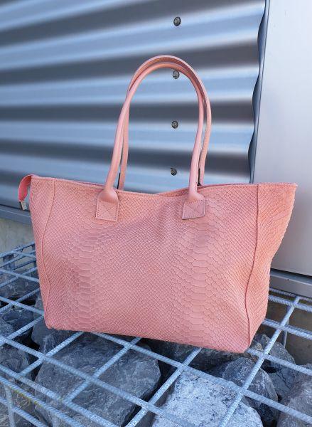 Tasche - Damen Handtasche rosa mit Reißverschluss Snake-Print
