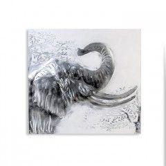 Ölbilder 'Elephant', aus Leinen/Holz/Metall 100 x 100 cm