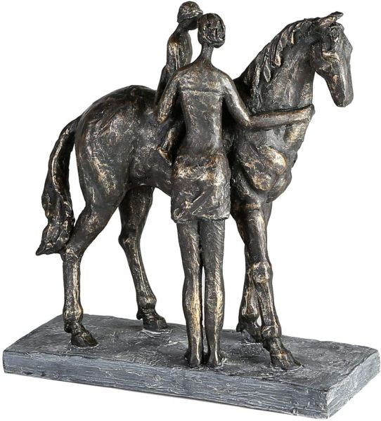 """Casablanca Skulptur """"Confidence"""" Poly bronzefarben Mutter mit Kind und Pferd Design mit Spruchanhäng"""