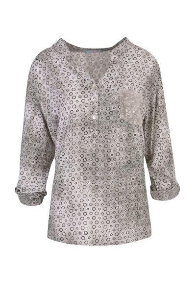 HeartKiss Damen Bluse kahki print