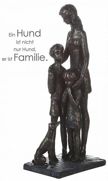 """Skulptur """"Tierlieb"""" Poly bronze-finish Mutter mit 2 Kinder und Hund"""