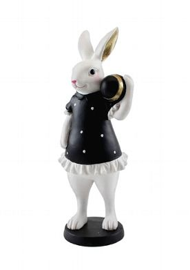 """Figur Hase """"Valento"""" mit Ei weiß-schwarz 25,5 cm Höhe"""