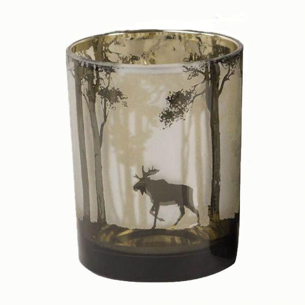 Colmore Windlichtglas S Motiv Hirsch Schwarz 7x7x8 cm