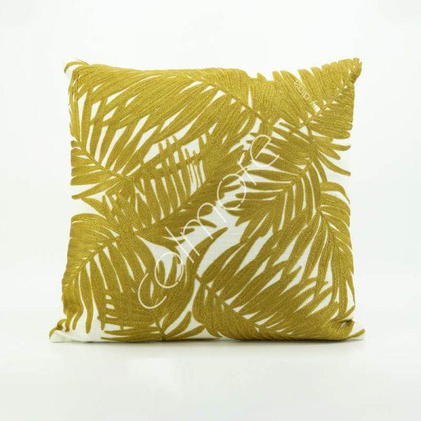 """Colmore Dekokissen """"Blätter"""" Elfenbein-Gold 50 x 50 cm"""