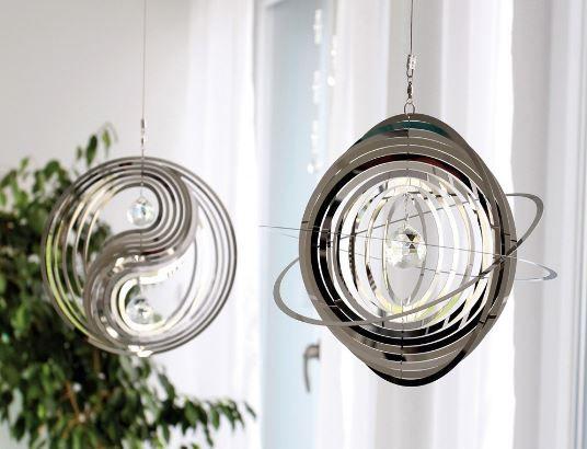 "Windspiel ""Circle"" Yin & Yang silber mit Glaskugel"