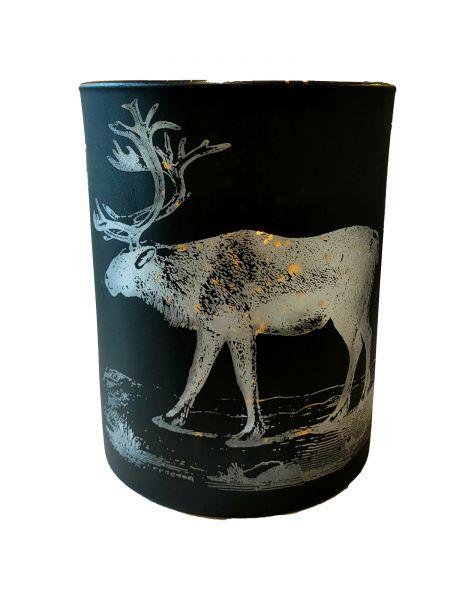 Colmore Windlichtglas M Motiv Hirsch Schwarz 10x10x13 cm
