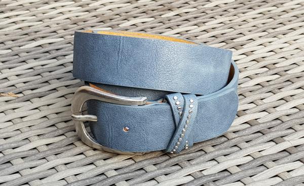 Damen - Gürtel Leder blau, 100 cm