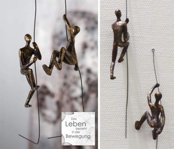 """Casablanca 2er-Set Skulptur """"Scramble"""" aus Poly bronzefarben Figur Länge 50cm mit Spruchanhänger"""
