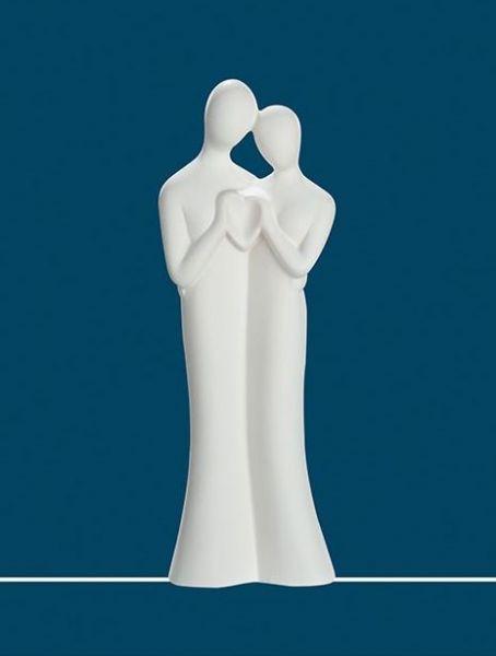 "Skulptur Paar ""Liebesgrüße"" Keramik cremefarben in Handarbeit hergestellt"