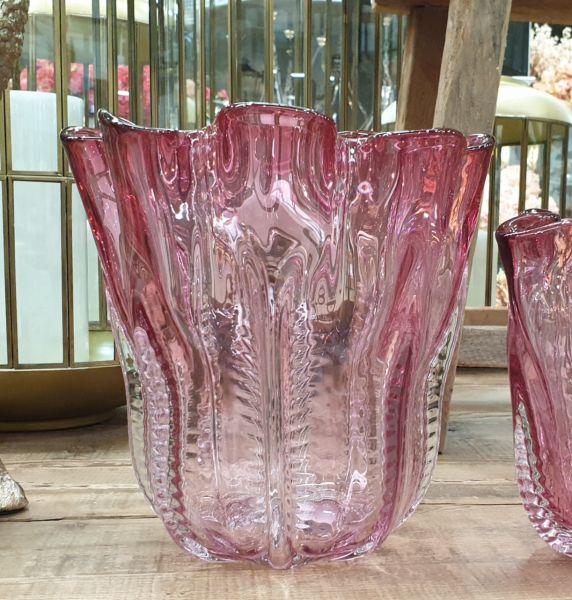 Vase Colmore pink handgearbeitet mundgeblasen, Höhe 26 cm, DM 25 cm