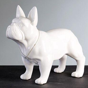 "Skulptur Mops ""Bulli"" weiss"