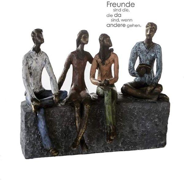 """Skulptur """"Network"""" Poly Figuren bunte Kleidung antikfinish Design mit Spruchanhänger"""