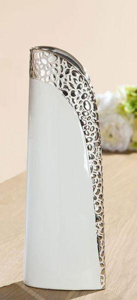 """Vase """"Cerosa"""" Keramik weiß, mit champagner Struktur"""