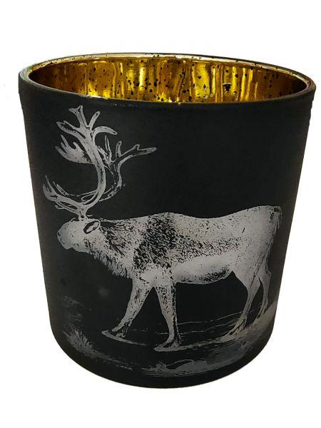 Colmore Windlichtglas L Motiv Hirsch Schwarz 15x15x15 cm