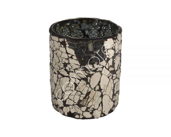Colmore Glas Votiv Silber mit Mosaiksplitter handgearbeitet Ø 10 cm Höhe 13 cm