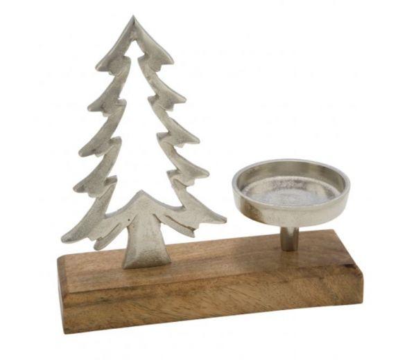 Aluminiumbaum mit Kerzenhalter auf Sockel, silber / natur, 25 x 14 x 7 cm