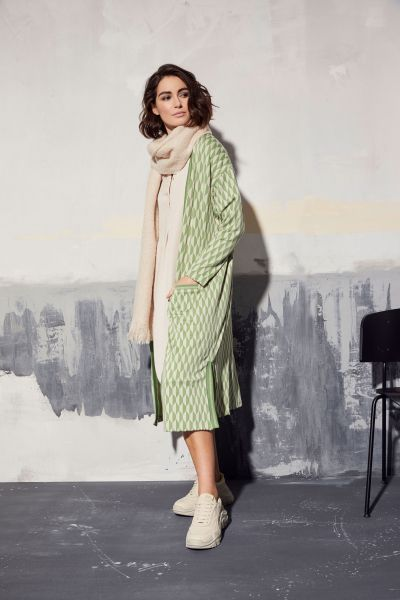 MILANO ITALY Long Cardigan mit grafischen Muster