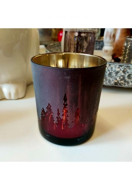 Cor Mulder Windlichtglas S Motiv Wald Rot 7x7x8 cm