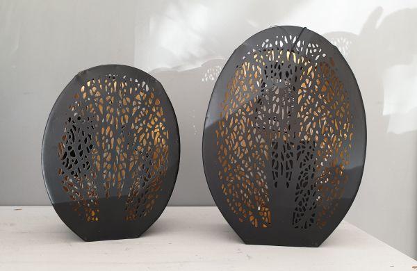 """Teelicht-Laterne """"Bush"""" Metall in schwarz gold Höhe 22 cm"""