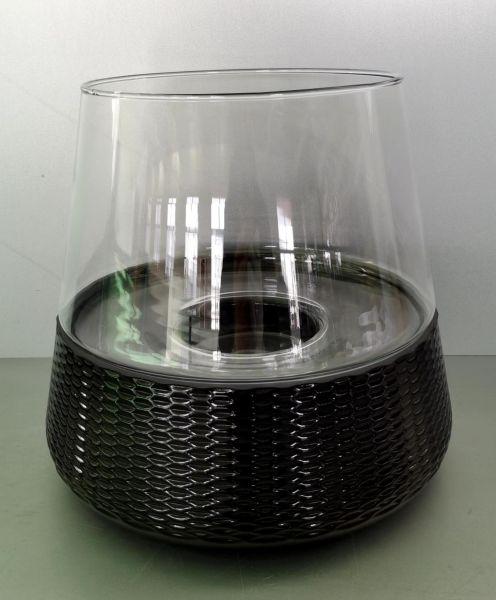 CorMulder Glas-Windlicht mit Wabensockel schwarz Ø 26cm 25 cm Höhe