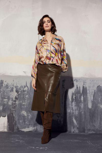 MILANO ITALY Damen Bluse mit Raglannähten und Raffung - Farbe - Sand Print