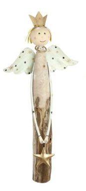 """Engel """"Aurora"""" natur/gold, mit Stern/Herz/Sternschnuppe Körper aus Eukalyptusholz"""