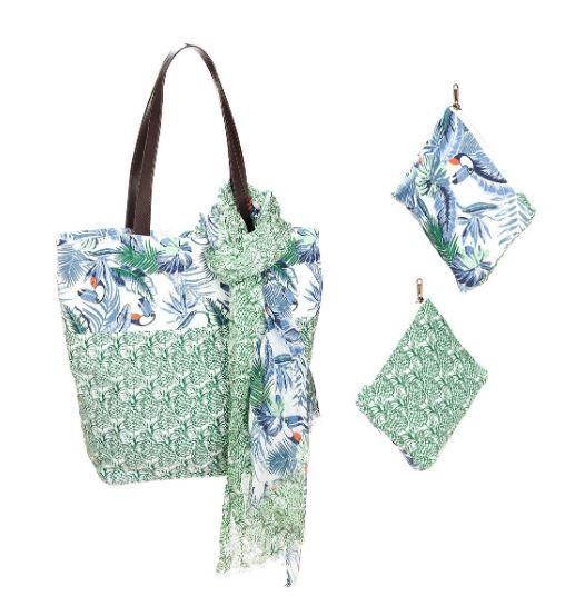 """3er-Textil-Set """"TURKAN"""" Tasche, Schal & Kosmetiktasche"""