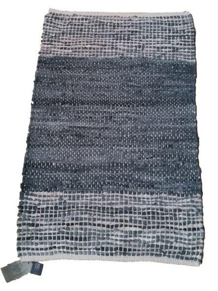 """Teppich """"KIRSTEN"""" blau-grau Lederstreifen, 60 x 90 cm"""