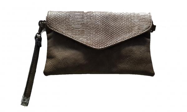 Damen - Clutch Handtasche green mit Reißverschluss