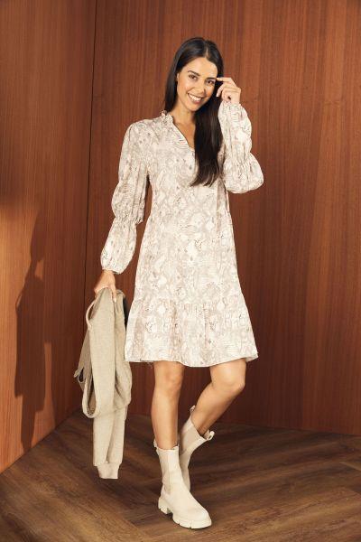 HeartKiss Damen Kleid Beige Print