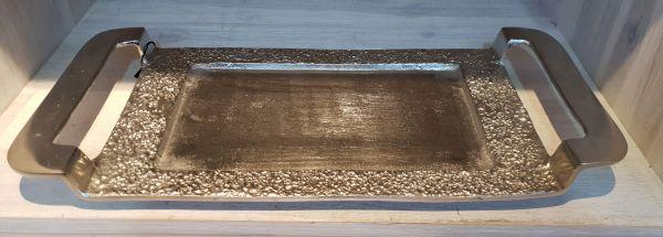 Tablett antikem Aluminium, vernickelt 41 x 30 x 3 cm