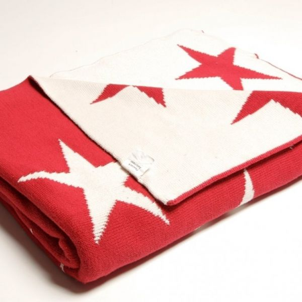 "Wohn- u. Kuscheldecke ""STAR"" 130 x 170 cm, rot"