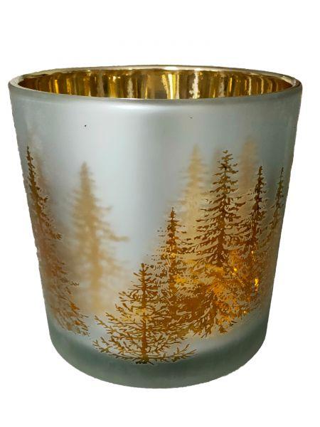 Colmore Windlichtglas L Motiv Wald Weiß Gold 15x15x15 cm