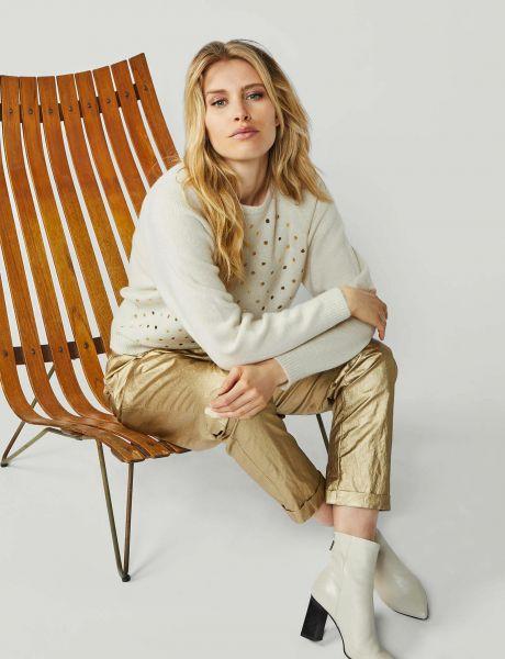 Summum Woman Wollmix-Pullover mit goldenem Punktmuster Ivory