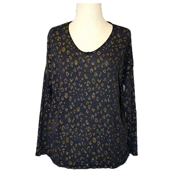 ZaZa'Z Shirt Langarm Dunkelblau mit Leopard-Muster Gold One-Size-Copy