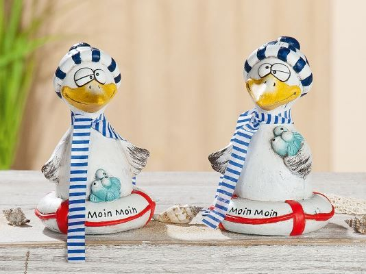 "Figur Möwe ""Fitje Moin Moin"" 2er-Set Keramik creme/blau/rot, mit blau/weißem Textilschal"