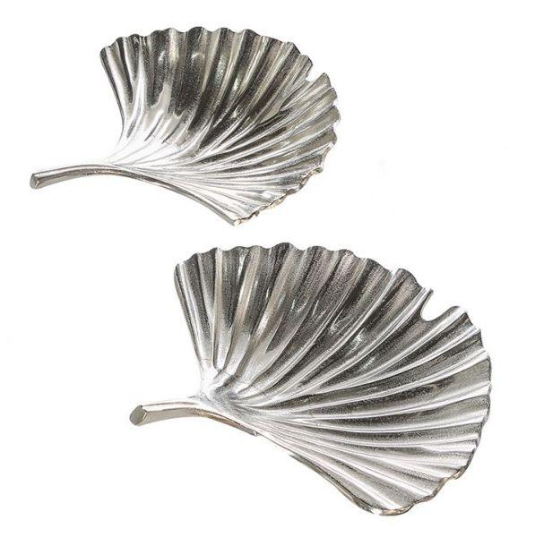 "Schale ""Ginko"" aus Aluminium silber antikfinish poliert"