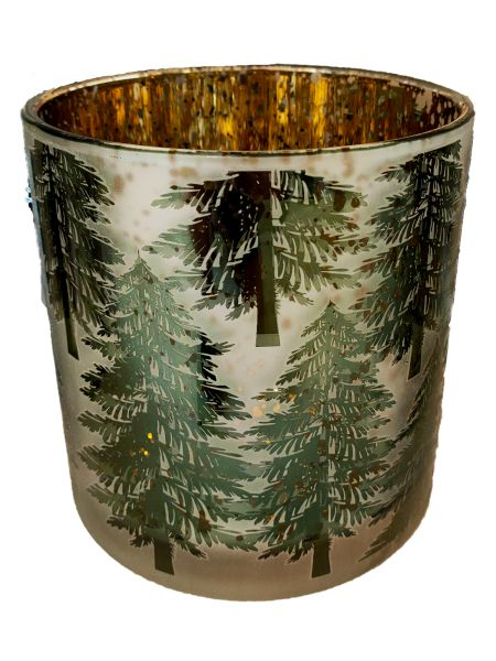 Colmore Windlichtglas L Motiv Wald Grün 15x15x15 cm