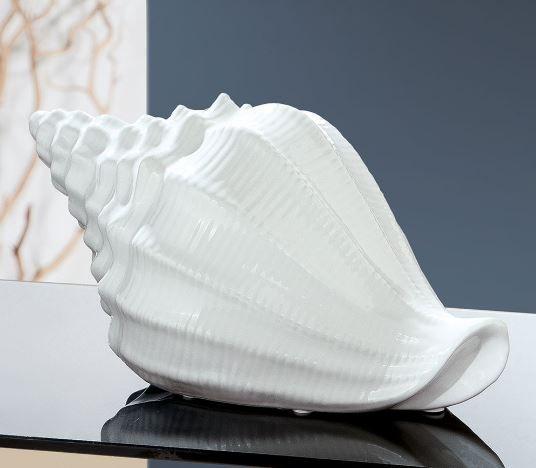 "Skulptur ""Die Muschel"" Keramik weiß"