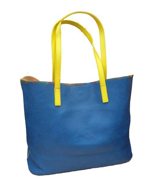 Tasche + Clutch Blau-Gelben