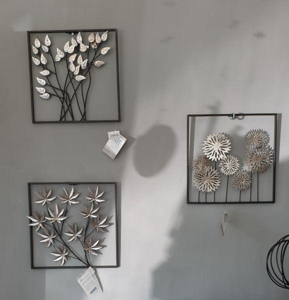 """Wandbilder """"Blumen & Blätter"""" Metall braun/silber antikfinish 3Set"""