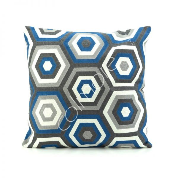 "Colmore Dekokissen ""Natrual"" Blau-Grau-Anthrazit-Weiß 50 x 50 cm"