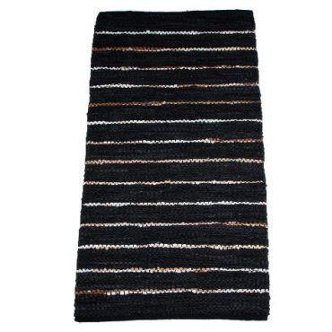 """Teppich """"ETHNO"""" schwarz Lederstreifen, 140 x 70 cm"""
